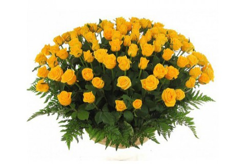 Basket of yellow roses