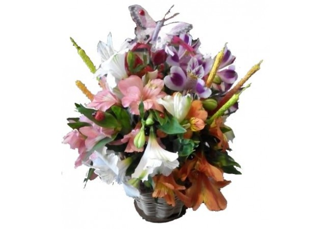 Basket with alstromeria (mini)