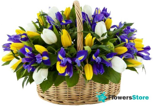 Basket with flowers tulips and irises