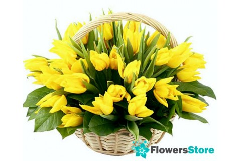 Basket yellow tulips (35 pieces)