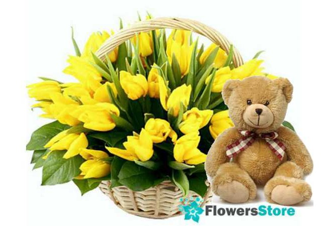 Basket of yellow tulips