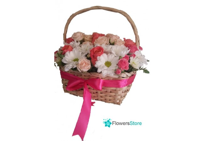 Cute basket of flowers with free delivery in Kiev