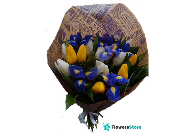Bouquet of irises and tulips