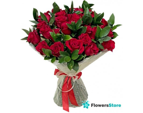 Bouquet of roses with greens (25pcs.)