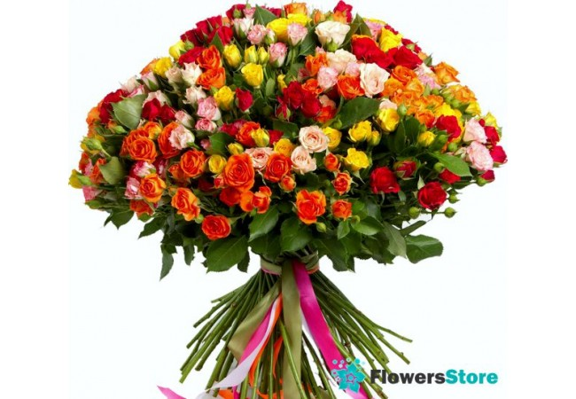 bright and a huge bouquet of 101 roses