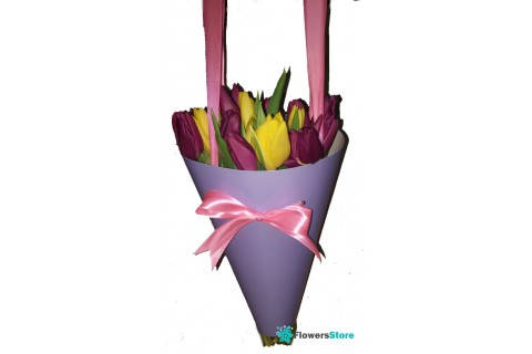Tulips in floral package